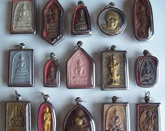 15 Thai Buddhist Buddha Buddhism Clay Amulet Medallions Charms Pendants Set