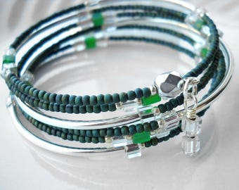 Teal and silver memory wire bracelet: Trip Through Your Wires | Blue-green bracelet | Silver tube bracelet | Beaded memory wire bracelet