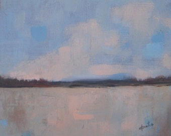 """Lake Like a Mirror - Original Acrylic painting - abstract landscape painting - clouds painting - unstrethed linen canvas - 10""""x12"""""""