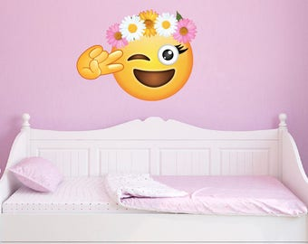 Large Peace Flower Crown Emoji Wall Decal Emojis Peel and Stick Repositionable