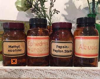 4 x bottles jars containers chemistry apothecary potion poison medical doctor collectable glass amber brown lids wedding table decor