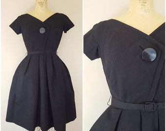 Vintage 1950s Black Dress / Cupcake Dress / Full Skirt / XS