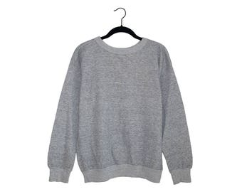 Vintage Gym Track Heather Light Gray Simple Tri-Blend Crewneck Sweatshirt, Made in USA - Medium