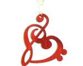 Treble Clef Heart Wood Ornament