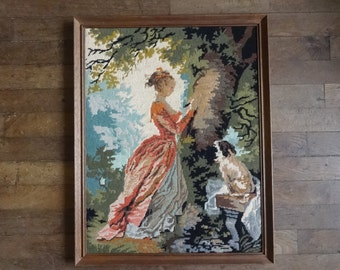 Vintage French Tapestry Cross Stitch Girl Lady Dog Tree Reproduction Portrait Wall Hanging circa 1950-60's / English Shop