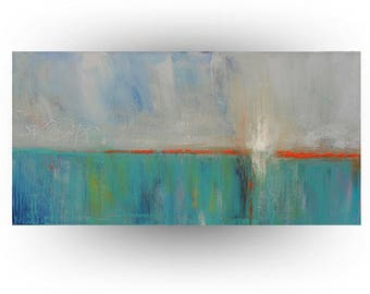 Skye Taylor Modern Abstract Original Painting Gray Teal Pallet Knife Painting - Miami Blues - 24 x 48