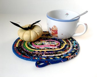 Scrappy Clothesline Coiled Rope Trivet - Snack Mat - Handmade Fabric Placemat - Large Mug Rug - Mouse Pad - Candle Mat - Quilted  Rope