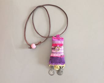 boho purple and gold lavender pouch pendant - ikat nomad gypsy india gold purple pendant necklace - mixed media hand sewn fabric pendant