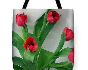 Red Tulip Bouquet Tote Bag, Grocery Tote Bag, Flower Tote Bag, Spring  Tote Bag, Beach Tote Bag, Patrushka Flower Totes, FREE SHIPPING USA