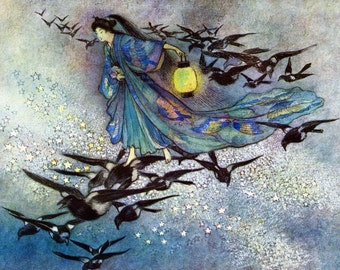 Fairy Fridge Magnet - Goddess and Magpies Fly - Star Lovers - Warwick Goble