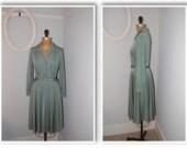 vintage 1970s grey green mid calf dress/vintage dress/green dress/vintage dresses/shirt dress/1970s 70s/