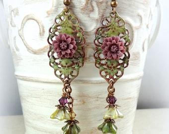 Sage Green Enamel Flower Earrings - Victorian Style Earrings with Lavender Flower - Purple and Green Flower Earrings, GReen Earrings