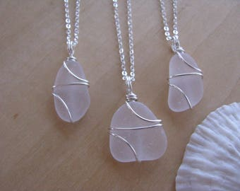 Purple Sea Glass Bridesmaid Necklaces Purple Wedding Jewelry Wire Wrapped Real Beach Glass