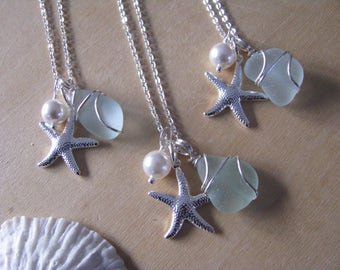 Bridesmaid Gifts Sea Glass Wedding Jewelry Beach Wedding Necklaces