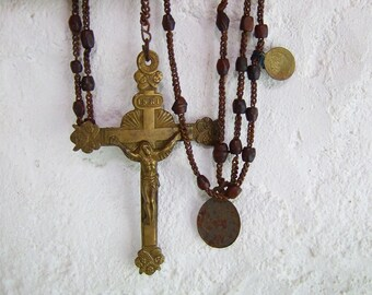 LONG Antique Rosary French Lourdes metal with 2 Medailles bakelite Angels crucifix  souvenir Pilgrimage