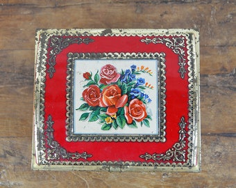French Tin box Embossed Red Roses flowers biscuit chest trinket jewelry shabby