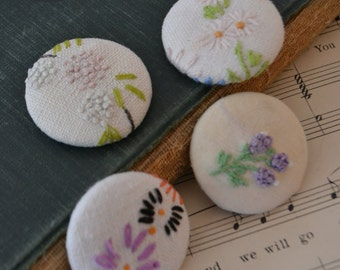 Vintage Handmade Floral Fabric Magnets Set of 4 - #1