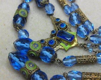 Fine and Rare Czech Sapphire glass Enamelled golden brass Sautoir necklace Deco Nouveau blue necklace  Neiger era