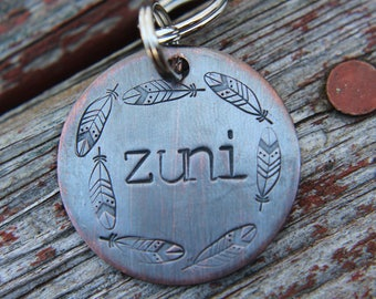 Hand Stamped Dog ID Tag,The Zuni, Pet Id Tag, Tag for Dog, Puppy Tag, Tag with Feathers, Copper Dog Tag, Pet ID, Identification Tag