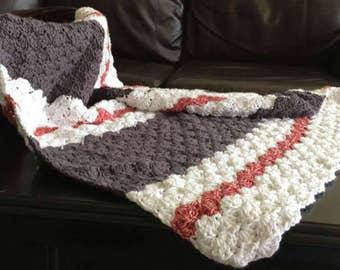 Custom Sock Monkey Inspired Crochet Blanket and Hat set