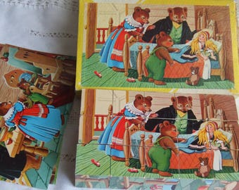 Vintage Goldilocks And The 3 Bears Blocks Puzzle. 6 Different Picture Puzzles.