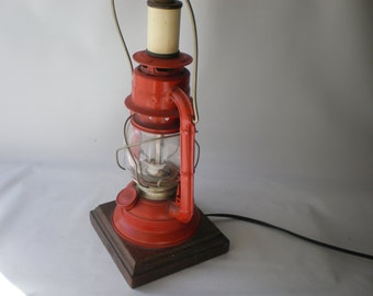 Vintage Red Converted Lantern Lamp