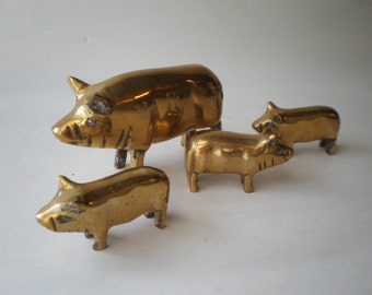 Vintage Brass Mama Pig with Babies