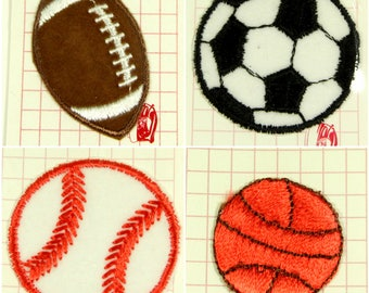 Vintage Lot of 4 Sports Iron On Embroidered Patches, Baseball Patch, Soccer Ball Patch, Basketball Patch, Football Patch, Sports Badges