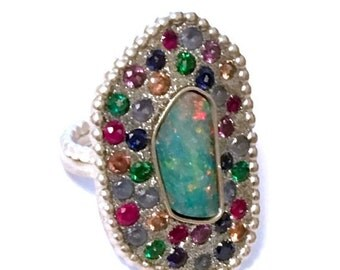 HOLIDAY SALE Australian opal and multi zircon sterling silver ooak ring