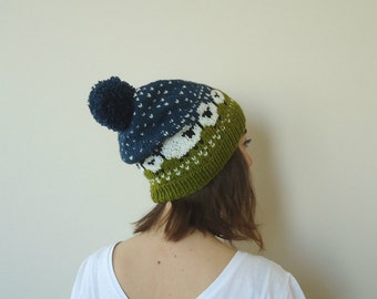 Sheep Hat, Hand Knitted Baa-ble Hat, Adult Unisex Beanie, Winter Hat with Sheep Design