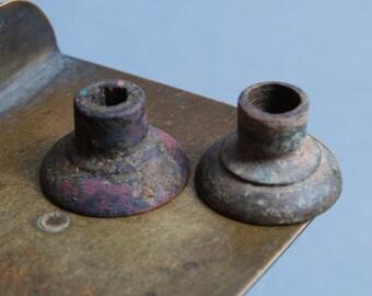 Set of 2 Antique metal cups, parts, finding, original dark patina