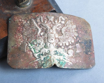 Antique broken Original Imperial Russian Army WW1 military uniform Belt Buckle. Eagle