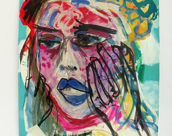 Momento, Original Mixed Media Fine Art Painting On Paper / Portrait / Contemporary Art / Expressionistic