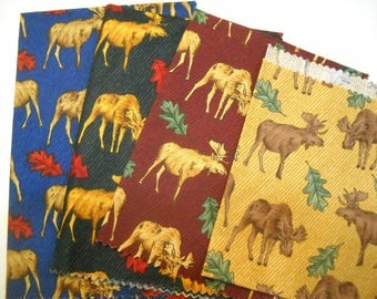 4 Different Color Moose Fabric Squares Cotton Quilt Squares FREE SHIPPING