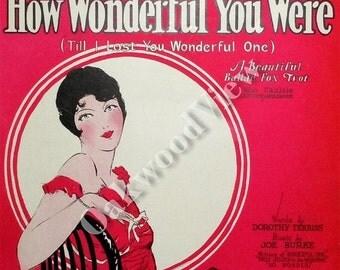 20% OFF How Wonderful You Were Sheet Music, Flapper Cover, Fox Trot, Antique 1926 Ephemera, FREE SHIPPING