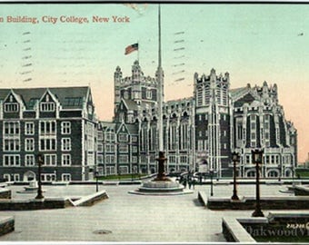 N.Y. City College Main Building Postcard, Manhattan NYC New York School, Antique 1911 Color Ephemera, FREE SHIPPING
