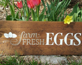 Farm Fresh Eggs Sign, Hand Made for your Rustic Kitchen or Chicken Coop