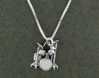 "Drum Set Pendant Necklace Sterling Silver Musical Instrument with 18"" Box Chain"