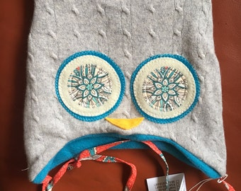 """Hoo Hat -Upcycled Wool Owl Hat- Size Small (17-18.5"""" head)"""