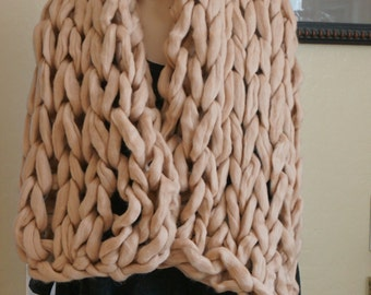 Beige Oversized Wool Scarf, Big Yarn Wrap, Chunky Scarf, Warm Winter Scarf, Christmas gifts for Mom, Chunky Knit Scarf, Gift for her