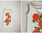 vintage 60s 70s orange and red floral shift linen sleeveless hawaiian dress -- womens large -- 44-46-48