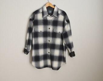 vintage black white gray plaid wool blend shirt blouse -- womens oversized small / med