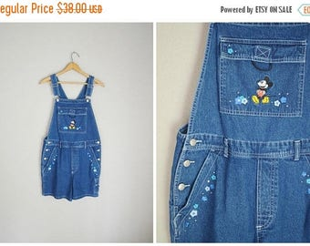 Vacation SALE - 10% off - vintage 90s embroidered Mickey Mouse Denim Jean Shortalls -- womens small