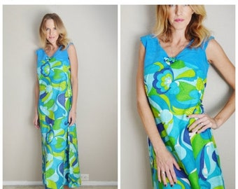 Memorial SALE - 15% off - Vintage 60s Stan Hicks Hawaiian Blue Green Floral Maxi Luau Dress // womens size 4/6