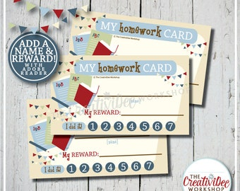 Homework Punch Card | Punch Card | Editable Name and Reward | Blue | Printable Punch Card | Instant Download | Schoolwork Card