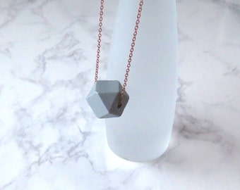Juyn - Copper and Grey Wood Block Necklace; Faceted Geometric Large-Scale Minimalist Modern Gray Pendant (Collier Gris Cuivre) by InfinEight