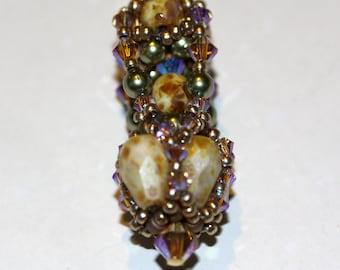 Crown Jewels Pendant,Beaded Bead, Olive Ecru Necklace, Jewelry, Beadweaving Pendant,Swarovski Crystal,Amy Johnson Designs NX1511