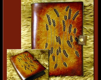 WHEAT Design: A Beautifully Hand Crafted Medium Sized Leather Journal. Great for a diary, recipes, addresses, garden notes, etc