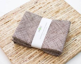 Large Cloth Napkins - Set of 4 - (N3217) - Crosshatch Brown Modern Reusable Fabric Napkins