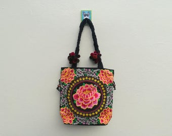 Hmong Thai Handbag, Tribal Hill bag, Embroidered  Shoulder Bags, Flower Ethnic Hmong Handbag, Hilltribe bag, Bohemian Tote Bags